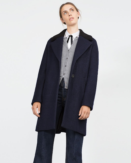navy black coat zara