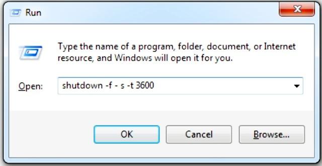 shutdown -f -s -t 3600