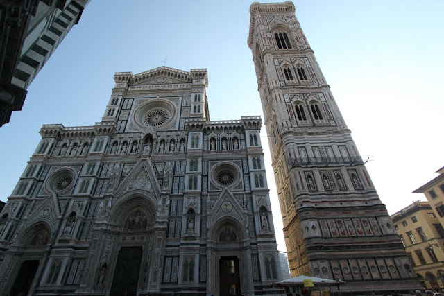 The front view of the Duomo di Firenze, the Florence Cathedral in Florence, Italy