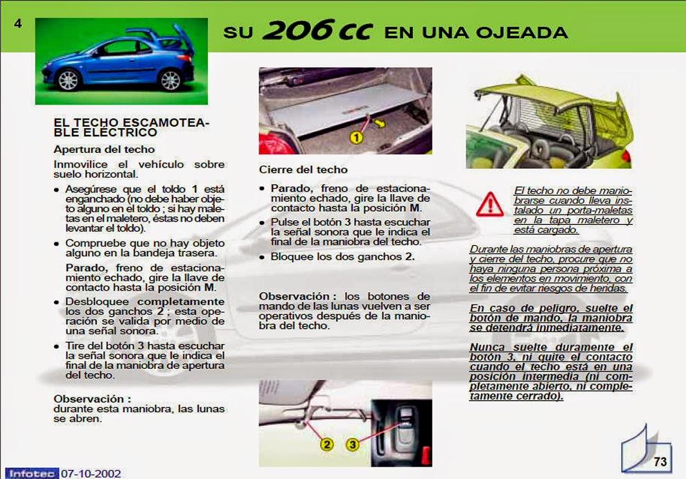 206 cc 2002 manual de usuario espa ol parte 1 de 4 rh pepopolis blogspot com peugeot 206 cc cabriolet manual 206 cc manual roof operation