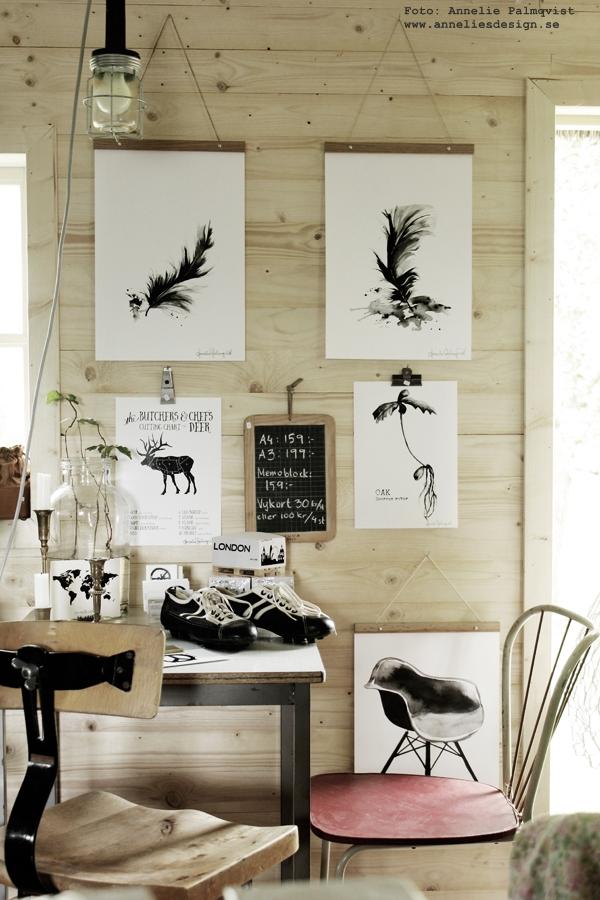 konsttryck, tavlor, svartvit, tavla, styckningsdetaljer, styckningsschema, älg, hjort, fjädrar, posters, poster, print, prints, på väggen, upphängning av tavlor, oak, ekollon, gamla fotbollsskor, svart och vitt, svartvit, röd stol, susan cedgård, sik, vykort, anneliesdesign, annelies design & interior, inredning, inredningsblogg, varberg,