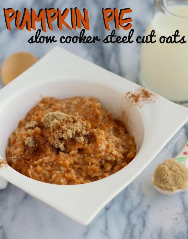 Slow Cooker Pumpkin Pie Steel Cut Oats from Rachel Cooks found on SlowCookerFromScratch.com