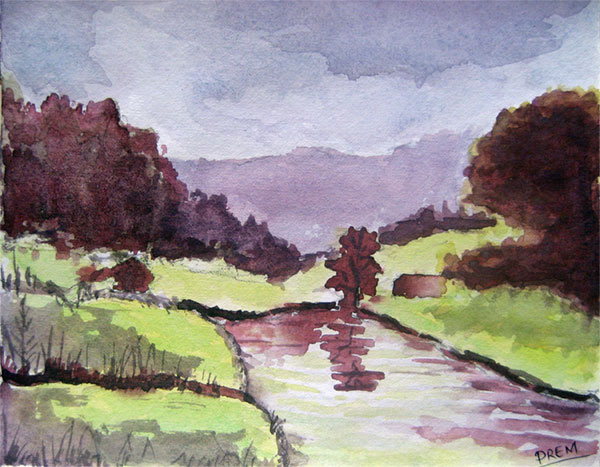 Watercolor Painting of Lake