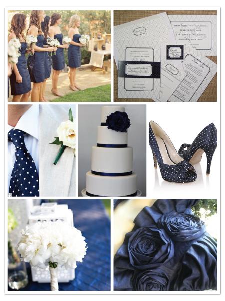 navy white polka dot preppy wedding inspiration board