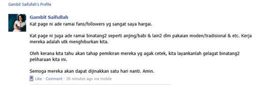 Gambar Gambit Saifullah Maki Anjing Babi Di Laman Sosial Facebook