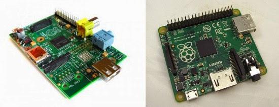 Raspberry Pi Modelo A à esquerda