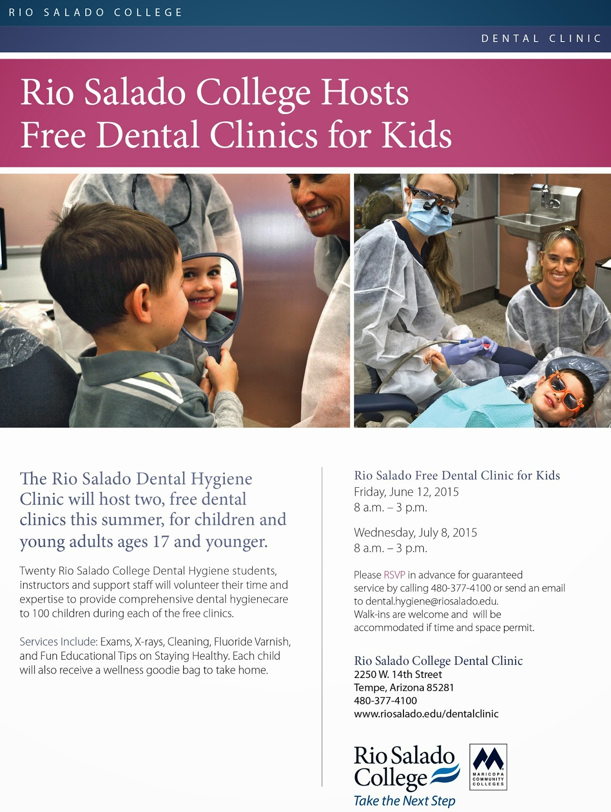 Rio Salado Dental Clinic flier.  Full text featured in blow, below image.  Shots of a young child patient being cared for by Rio Salado Dental students.