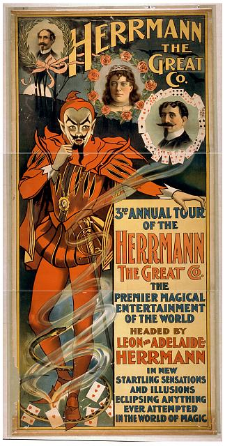 circus, classic posters, free download, graphic design, magic, movies, retro prints, theater, vintage, vintage posters, Herrmann the Great Co., The Premier Magical Entertainment of the World - Vintage Magic Poster