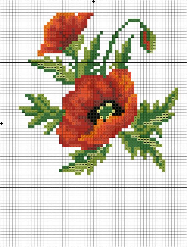Схемы вышивки мака цветка