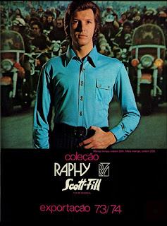 propaganda camisas Raphy - 1973.  Moda anos 70; propaganda anos 70; história da década de 70; reclames anos 70; brazil in the 70s; Oswaldo Hernandez