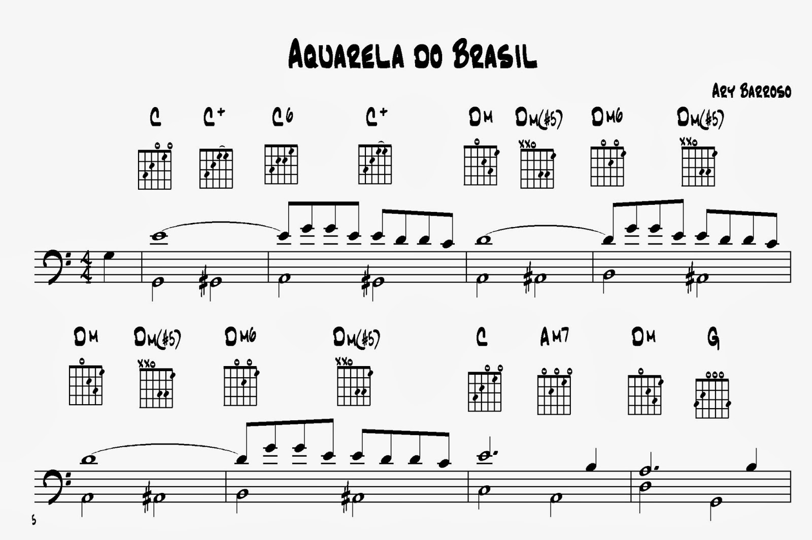 Four strings basslessons weekly basslines 126 line clichs part 2 a very famous example for the type d line clich is the samba tune aquarela do brasil by ary barroso written in 1939 hexwebz Gallery