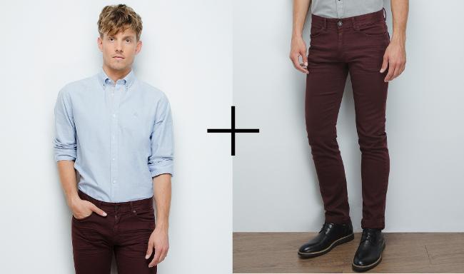 camisa oxford y pantalones burdeos en springfield