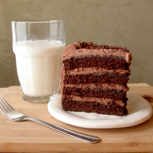 Food Pusher: Chocolate Cake with Cocoa Whipped Cream Frosting
