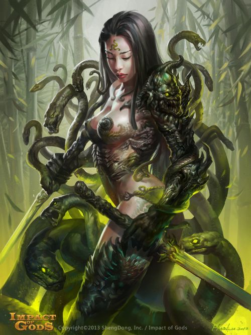 Lu Hua illustrations concept arts fantasy games Snake girl