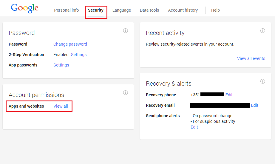 how to delete permission on google account