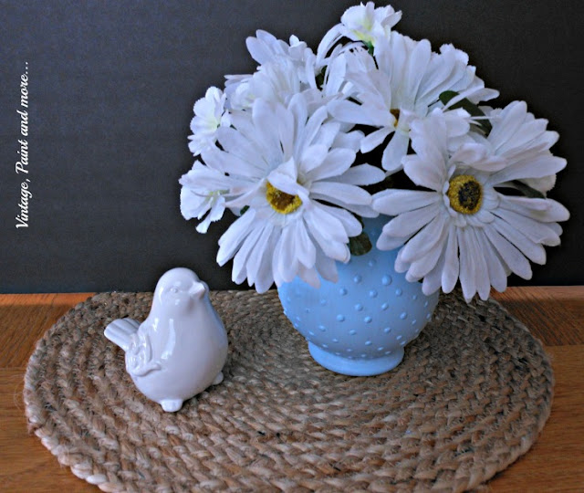Vintage, Paint and more... DIY blue hobnail glass from a Dollar Tree vase