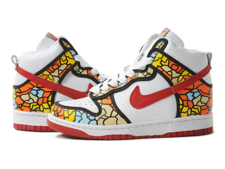 watch f5292 56ff1 Nike Dunks High Tops Women White Orange Blue Yellow Black Red