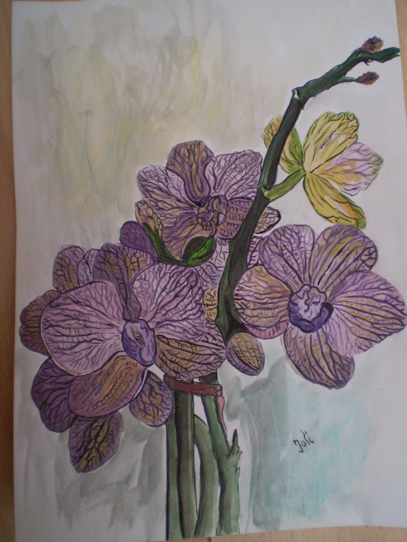 purple orchid, watercolor, signed Joli, A4