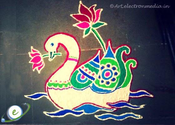 Artistic Swan Rangoli Design