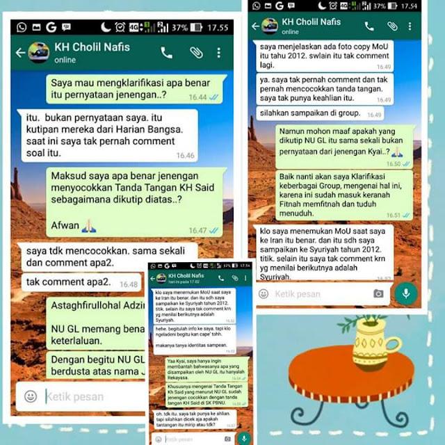 KH Cholil Nafis Membantah Fitnah NUGL tentang Tanda Tangan Kang Said