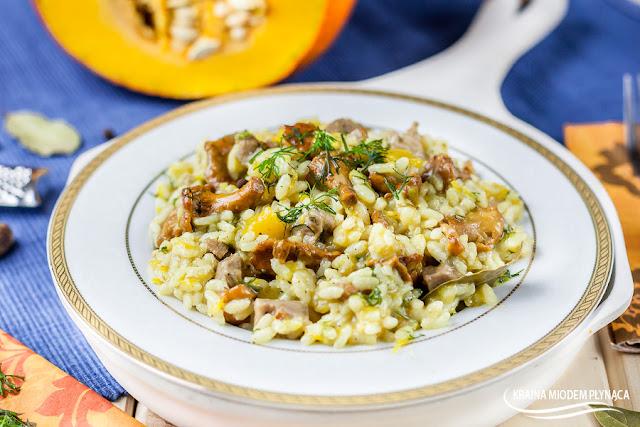 risotto z dynią, risotto dyniowe, ryż z dynią, przepisy z dynią, przepisy z ryżem, risotto z kurkami, ryż z kurkami, risotto z cielęciną, dania z cielęciny, ryż z cielęciną, risotto z mięsem, ryż z mięsem, kraina miodem płynąca