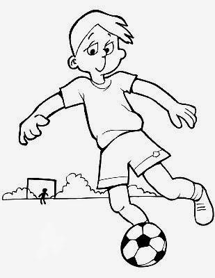 Colorear niño jugando al futbol