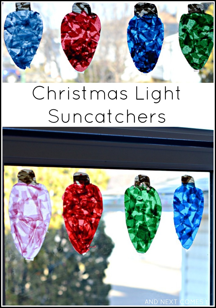 Giant christmas light suncatchers christmas craft for for Christmas crafts for toddlers to make for parents