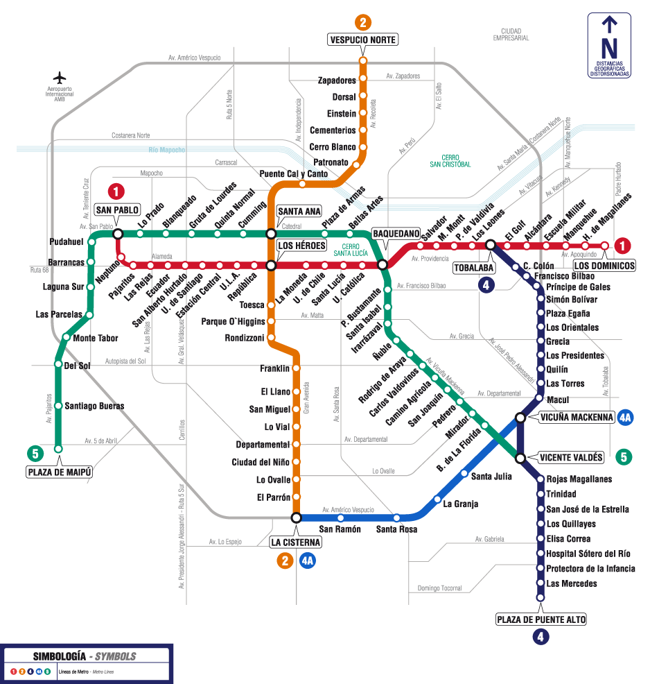 Mapa do metro santiago for Calles de santiago de chile