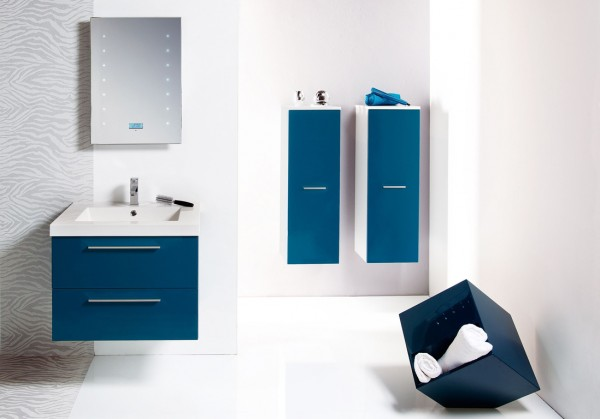 Id es de d coration de la salle de bain en bleu d cor de - Meuble de salle de bain bleu ...