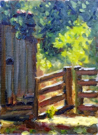 Oil painting of a shed door and a post and rail fence, partly in shade and partly in bright sunshine.