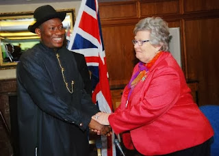 President Jonathan with Baroness Chalker at the HIIC Meeting