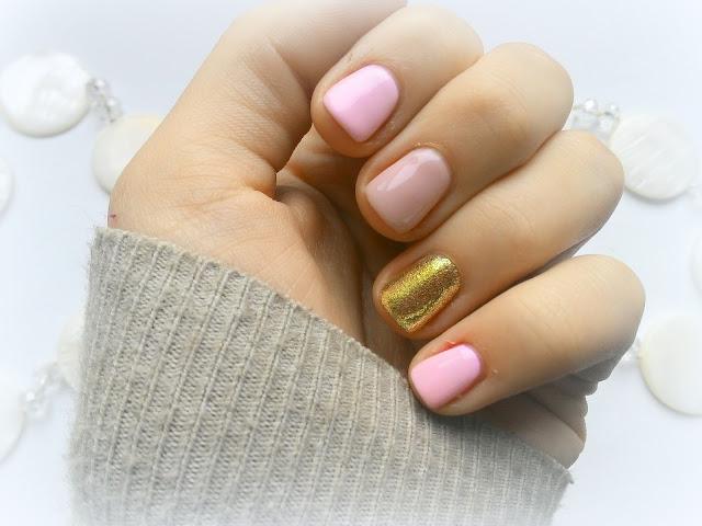 Nails hybrid pink gold glitter blog