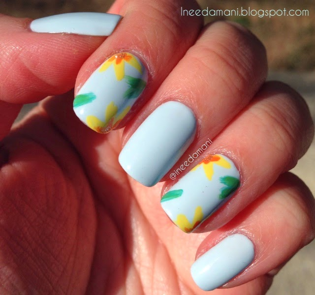 essie find me an oasis yellow and green floral spring nails