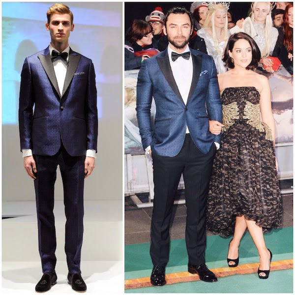 Aidan Turner wears Hardy Amies Fall Winter 2014 blue monogram tuxedo to world premiere of The Hobbit The Battle Of The Five Armies in London 1st December 2014