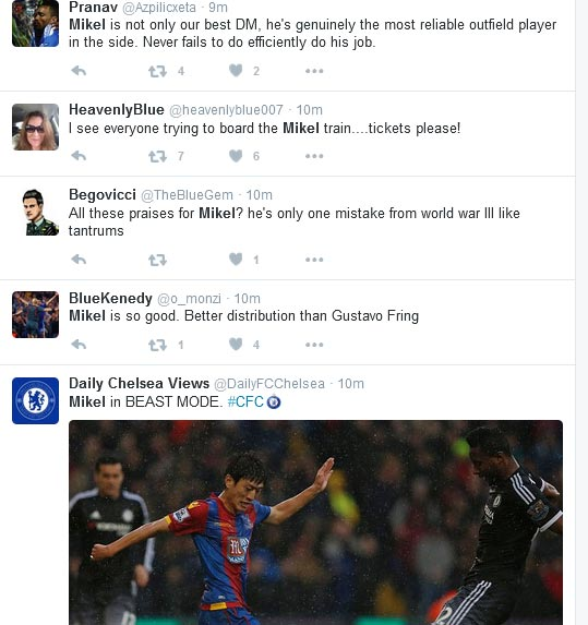 Chelsea Fans Praise Mikel Obi As He Makes A First Team Return Under Hiddink (Screenshots)