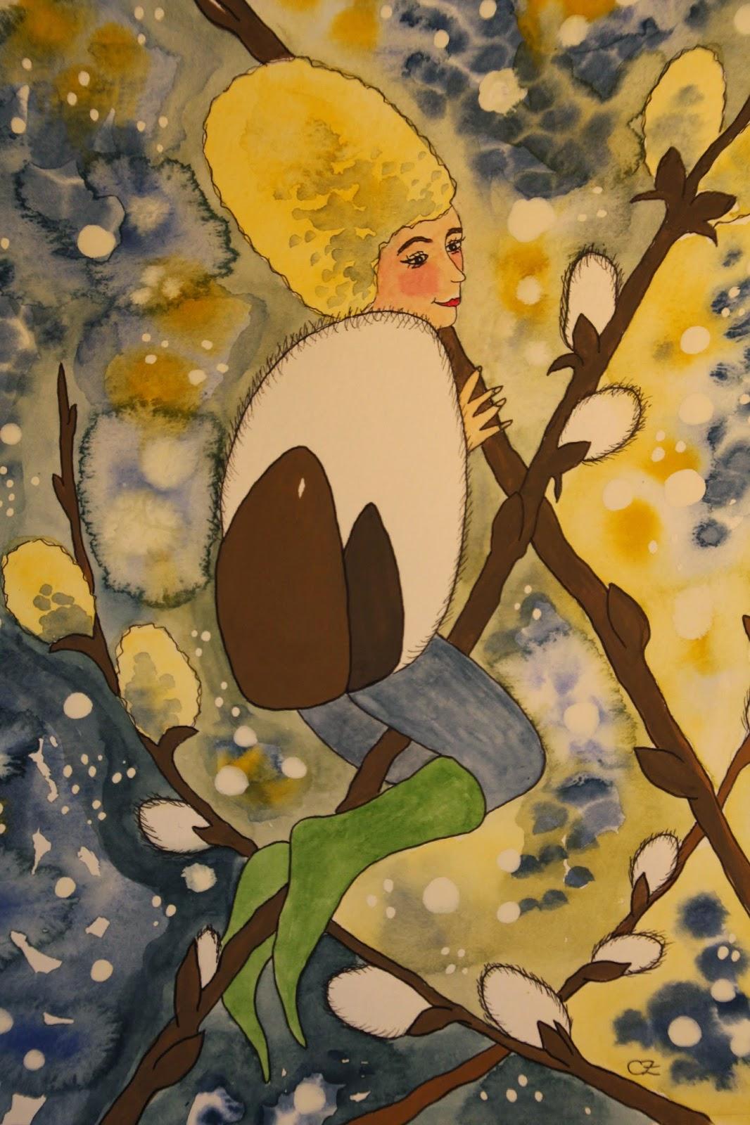 sälg vide akvarell carolin zander