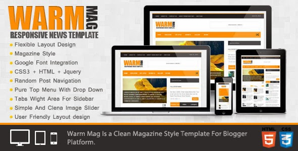 Warm Mag Responsive Blogger Template