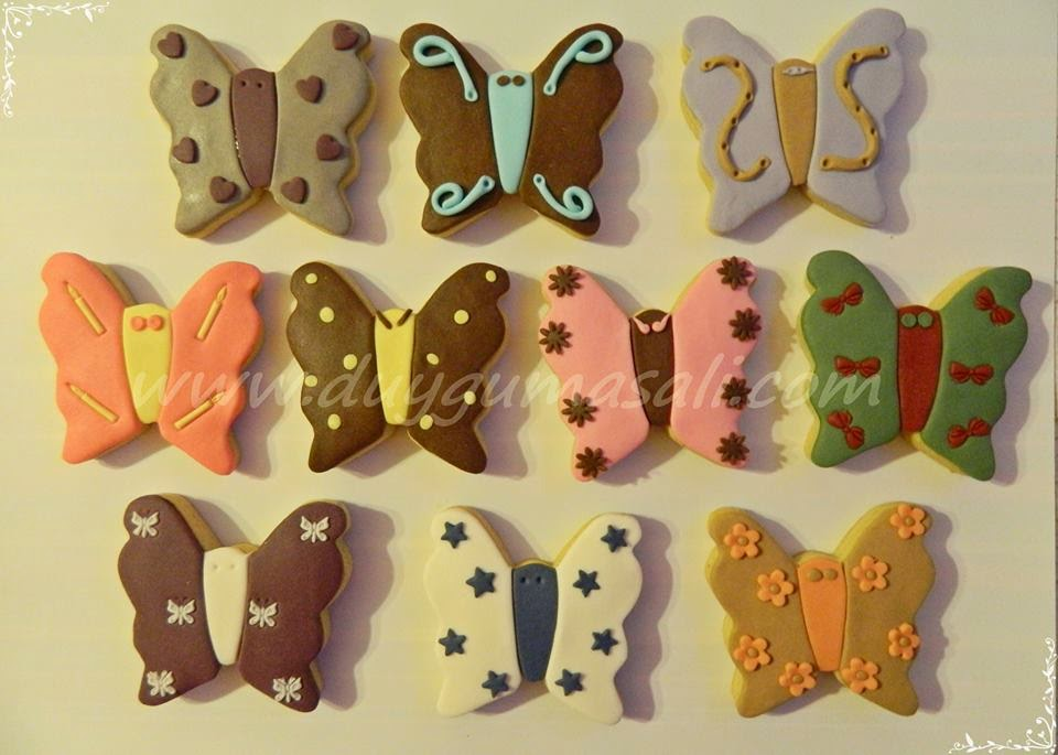 Kelebek temalı butik kurabiye