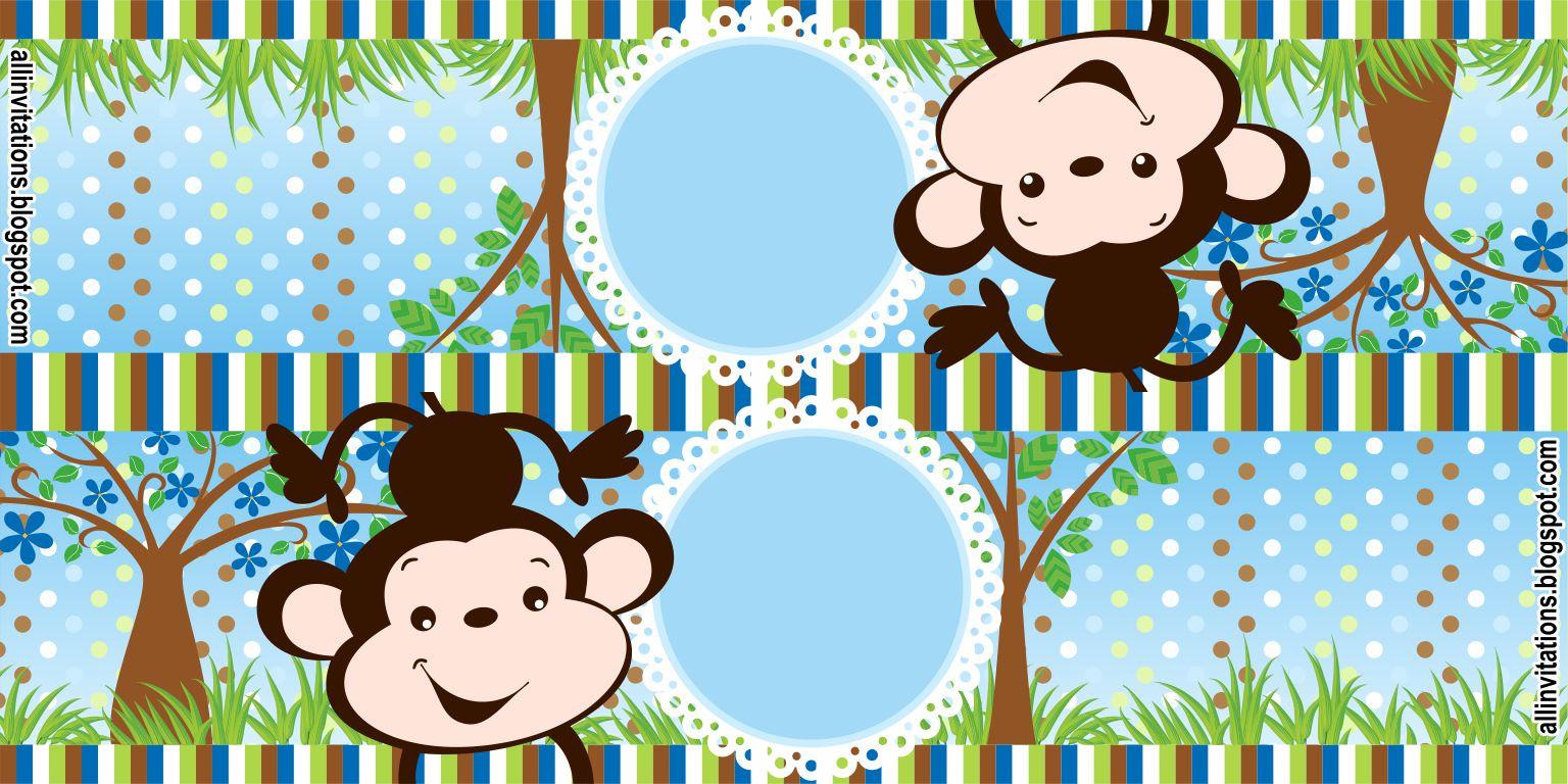 Plantilla para etiqueta de bolsa de dulces para baby shower con el tema un changuito