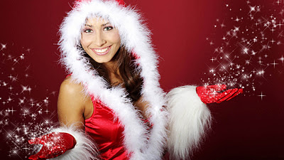 Red Christmas Girls Wallpaper With A Girl In Santa Suit And Sparkling Stars