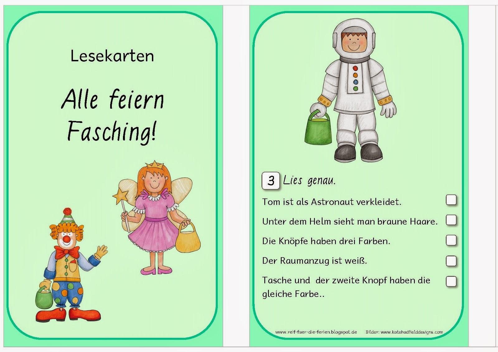 Faschings - Lesekarten