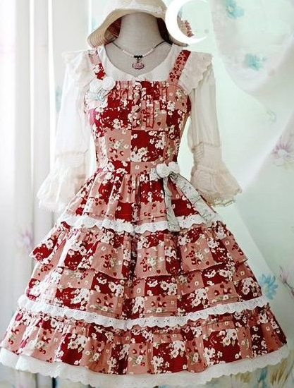 Sweet Cherry Printed Rococo Lolita Dress