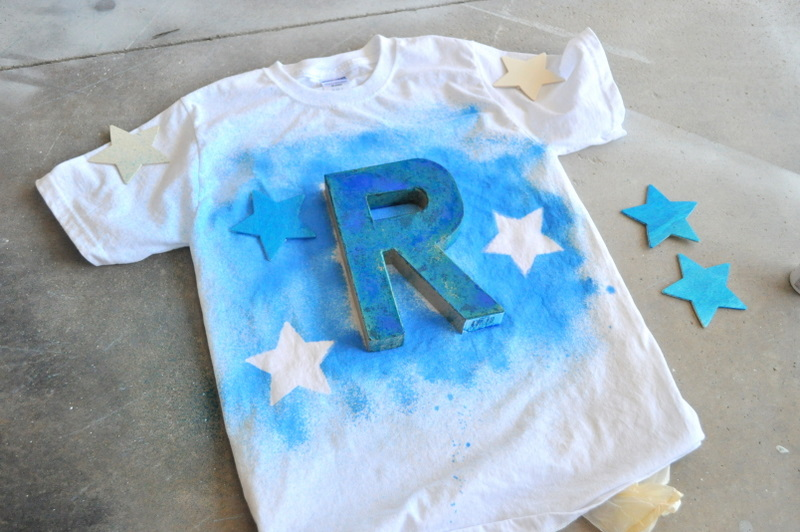 Spray Paint T Shirt Ideas Part - 17: I Used Spray Fabric Paint And Lightly Coated The Shirt So That When You  Removed The Letter And Starsu2026they Would Be White Still.