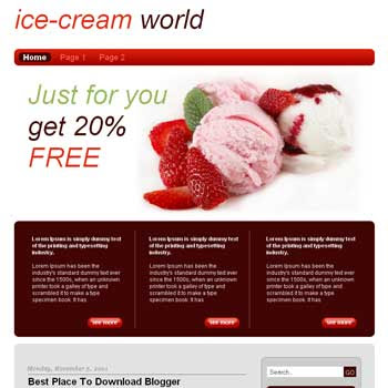 Ice Cream World Blogger Template.
