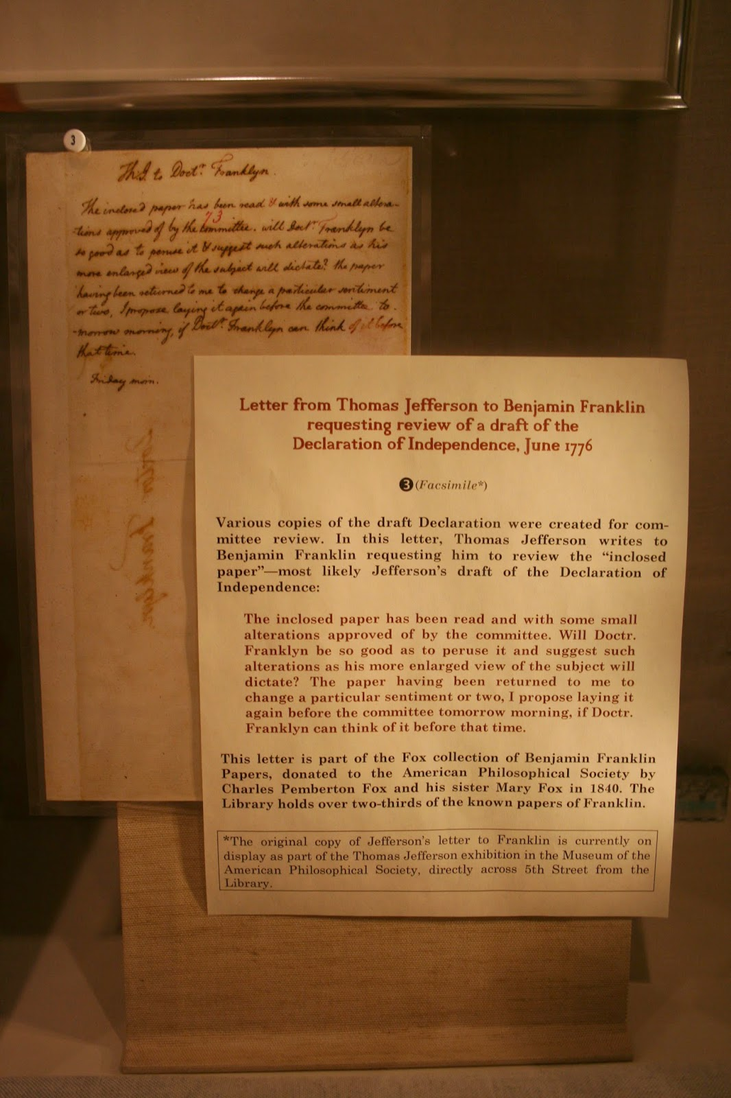 delco daily top ten  the original copy of jefferson s letter to franklin is on display at the museum of the american philosophical society located at 104 5th street