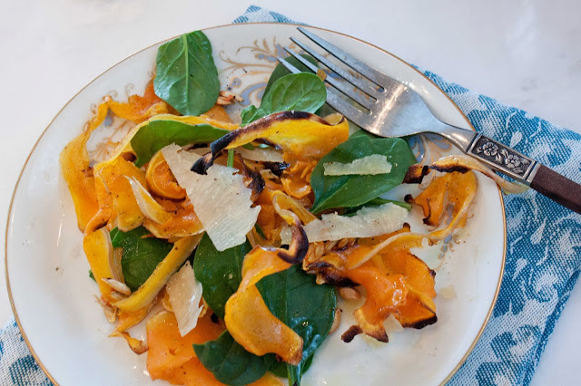 Fat and Happy Blog: Roasted Butternut Squash Ribbons with Spinach