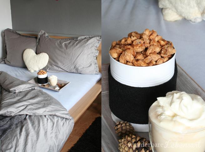 Schlafzimmer mit gebrannten Erdnüssen und heißer weißer Schokolade