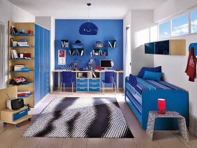 Dormitorio para hermanos en azul dormitorios colores y - Ideas para pintar habitaciones infantiles ...