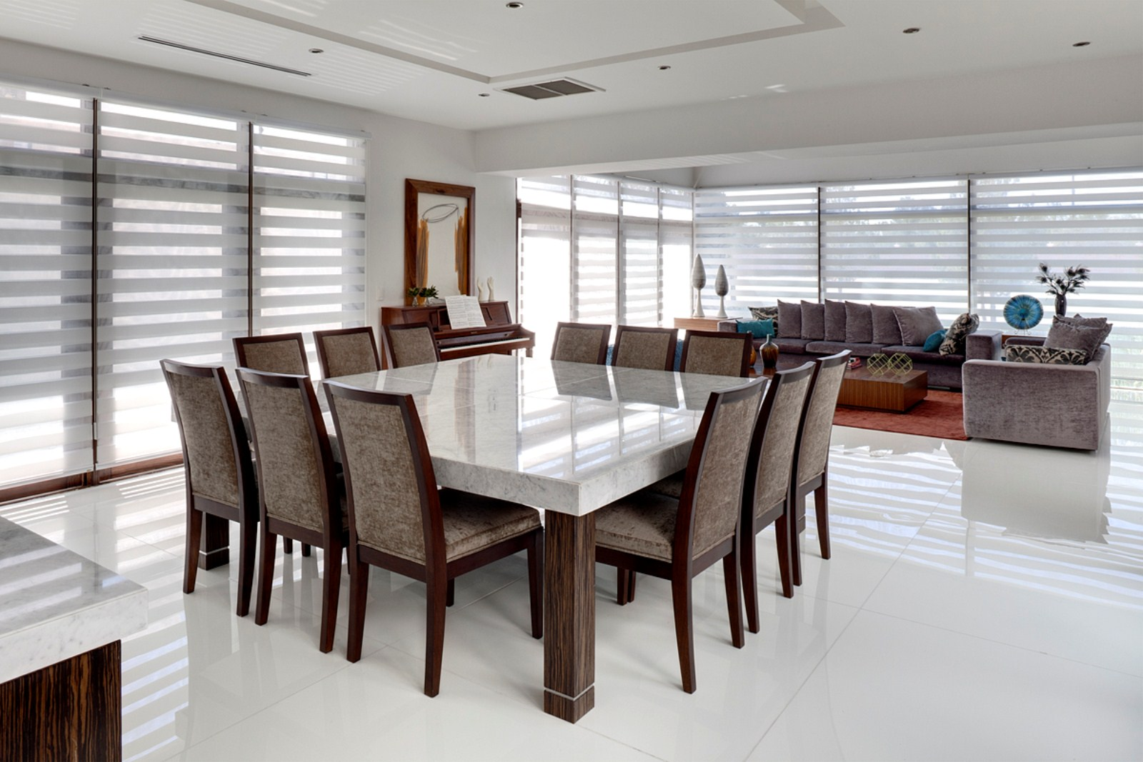 Decora o de 30 mesas de jantar quadradas e tudo que for Large dining rooms design