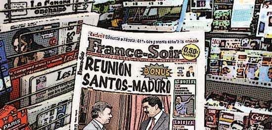 Newsstand cómic - reunión Santos - Maduro en Colombia